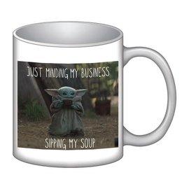 Rocket Fizz Lancaster's Star Wars The Mandalorian Child Sipping Soup 16 Oz. Ceramic Mug