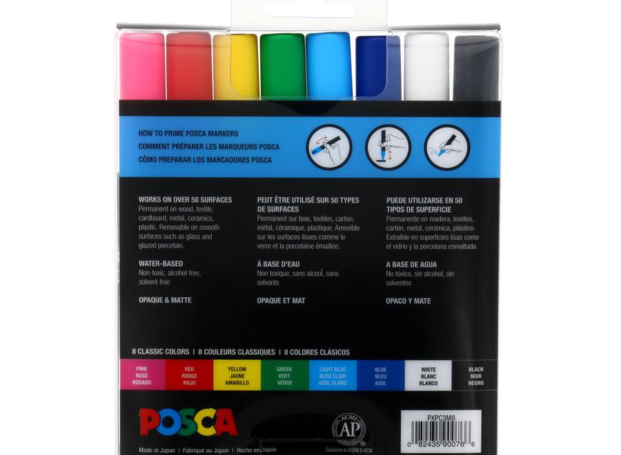 POSCA MARKER, PC-3M SET - Fine, 8 Colors