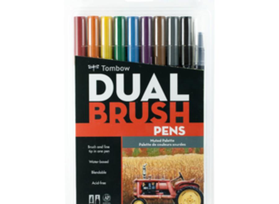 TOMBOW DUAL BRUSH PEN SET - 10 Pens, Muted Tones