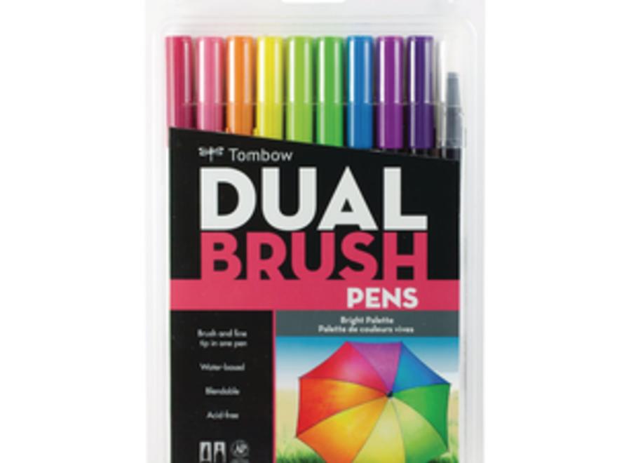 TOMBOW DUAL BRUSH PEN SET - 10 Pens, Brights
