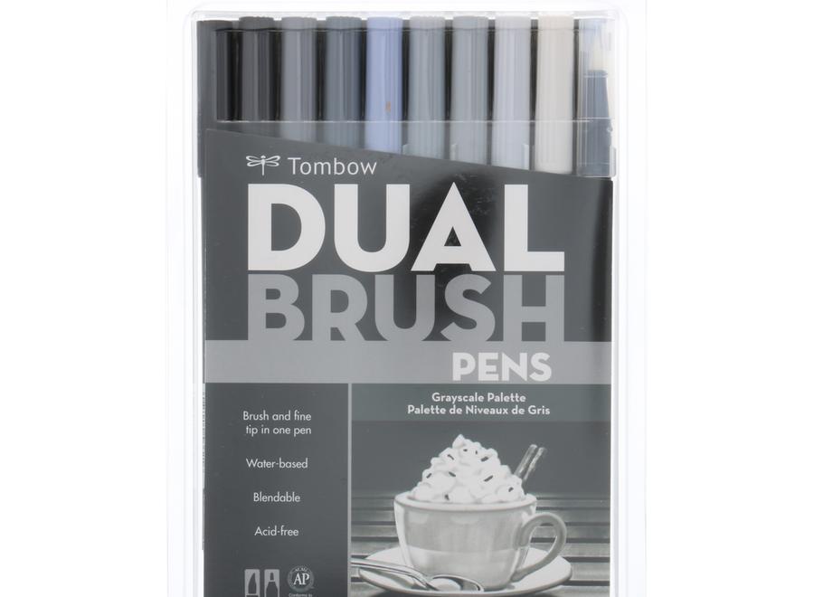 TOMBOW DUAL BRUSH PEN SET -  10-Pens, Grayscale