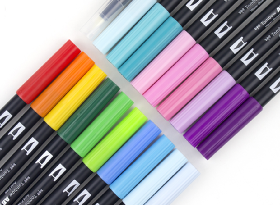 TOMBOW DUAL BRUSH PEN SET - 10-Pen, Primary Colors