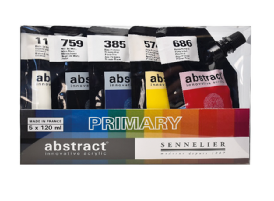 ABSTRACT ACRYLICS PRIMARY SET - 5 Colors, 120ml Pouches