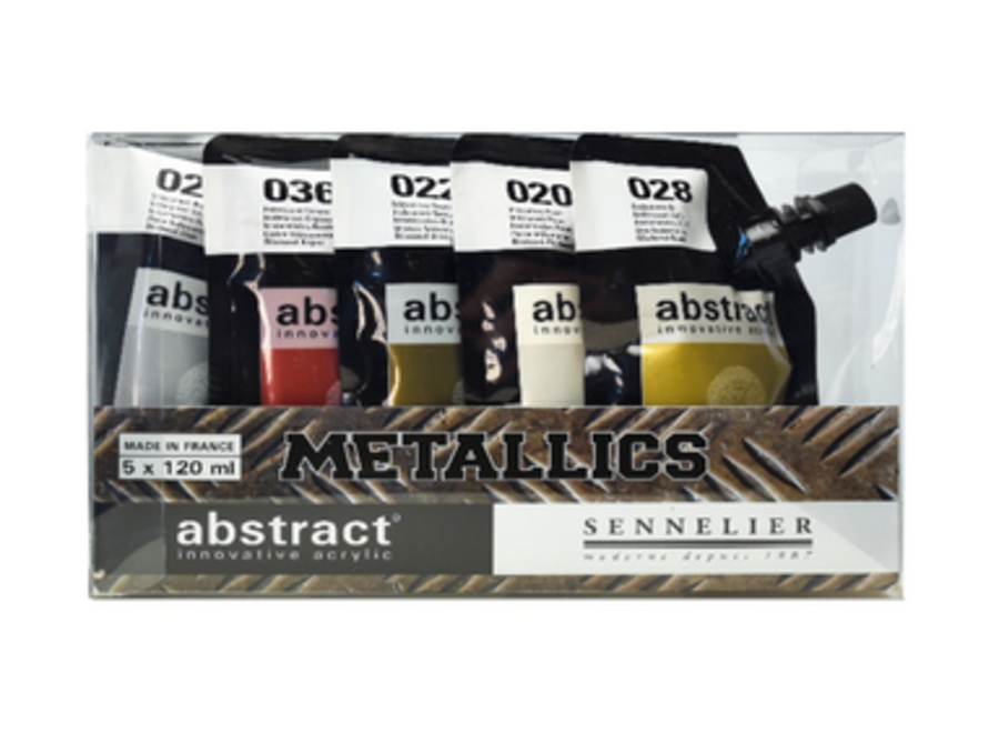 ABSTRACT ACRYLICS METALLIC SET 5 COLORS POUCHES