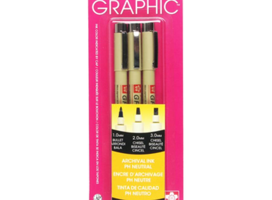 PIGMA GRAPHIC PEN SET - Black, 3-Pen Set