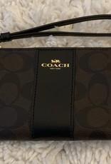Coach Coach Wristlet Small Sig Leather w/ Zip