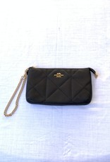 Coach Coach Wristlet Quilted With Zip & Chain