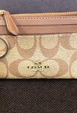 Coach Coach ID Wallet Signature Mini Skinny w/ Key Chain