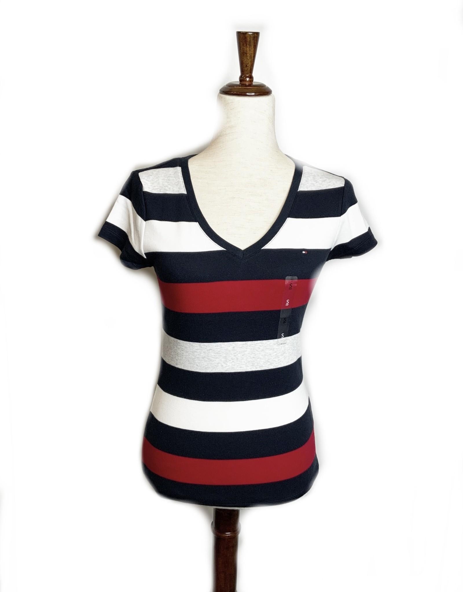 Tommy Hilfiger Tommy Hilfiger Tees Striped Short Sleeve V-Neck Rugby