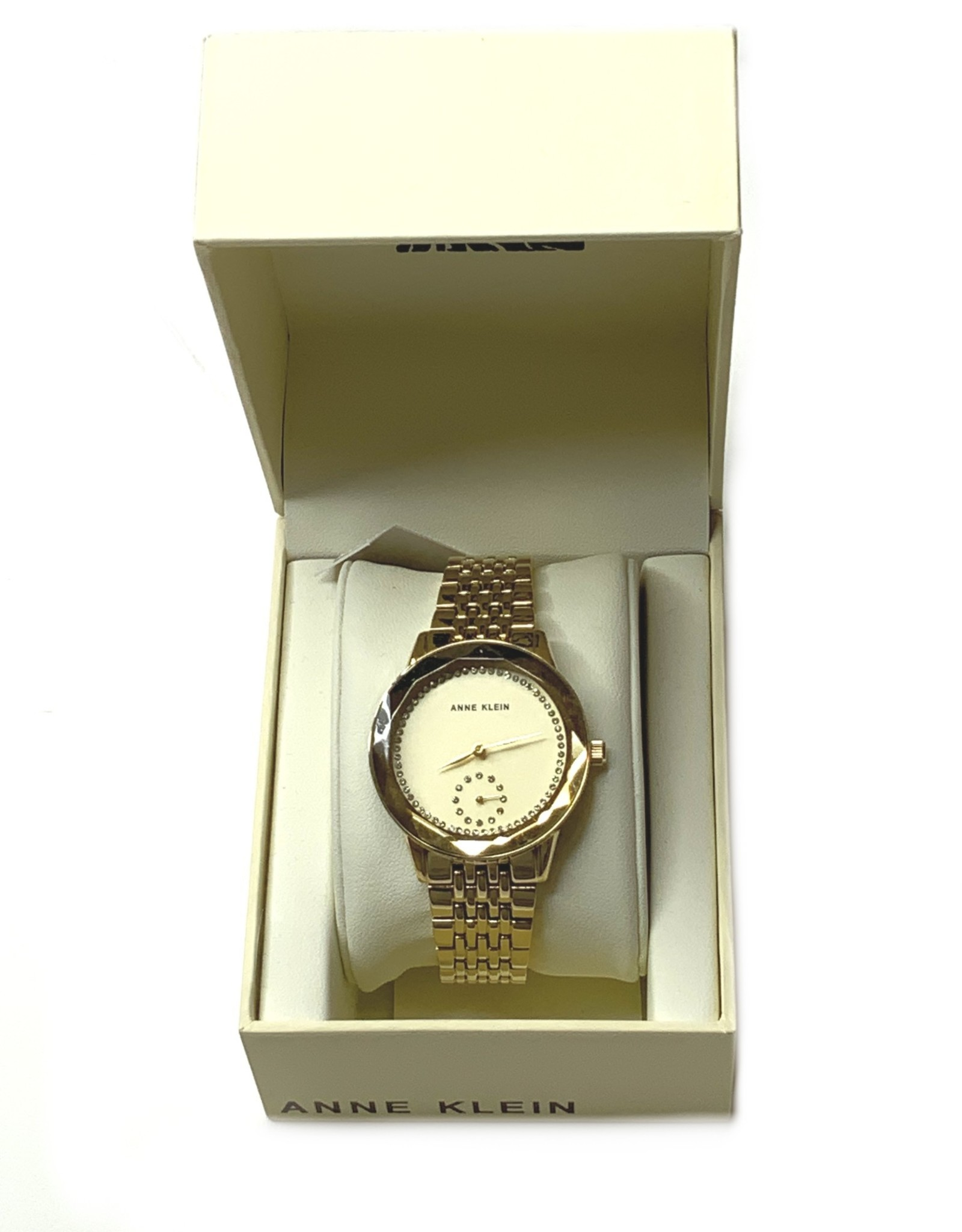 Anne Klein AK Ladies Watch Stainless Steel Yellow Gold with Hour, Minute & Second Functions w/ Swarovski Crystals