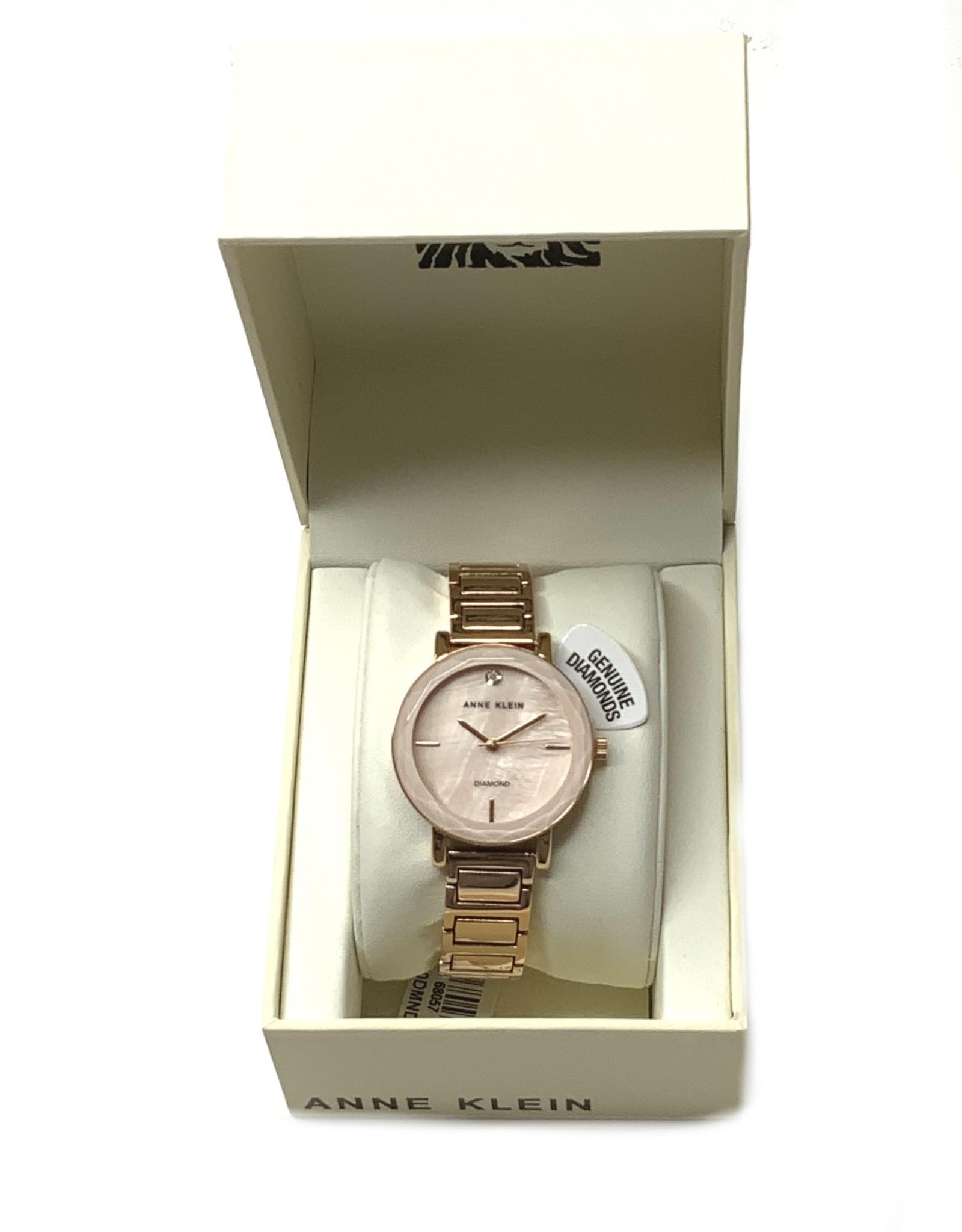 Anne Klein AK Ladies Watch Blush Pink  Solitaire Diamond Accent Rose Gold Tone
