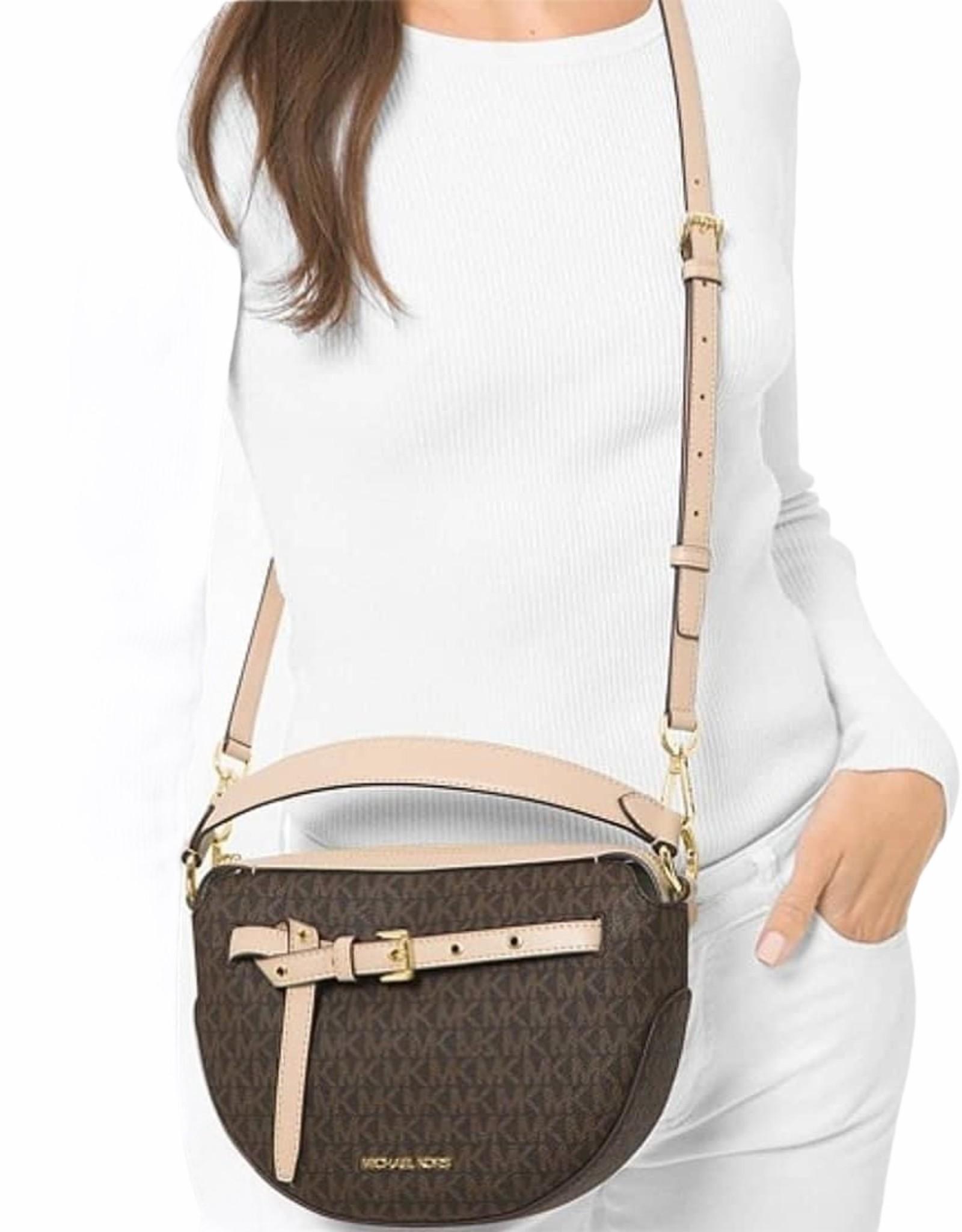 Michael Kors Michael Kors Emilia Medium Logo Halfmoon Crossbody Shoulder Bag