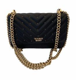Victoria's Secret Victoria's Secret V Logo Quilt Studded  Chain Strap Small Shoulder/Crossbody Bag