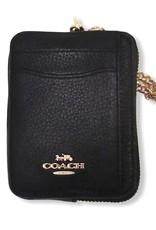 Coach Coach Zip Card Case Chain Wrist Strap with Dogleash Clip Attached