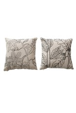 """Creative Co-op 18"""" Pillow w/B &W Embroidered Florals - 2 Designs"""