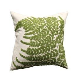 "Creative Co-op 20"" Fern Embroidered Green Pillow"