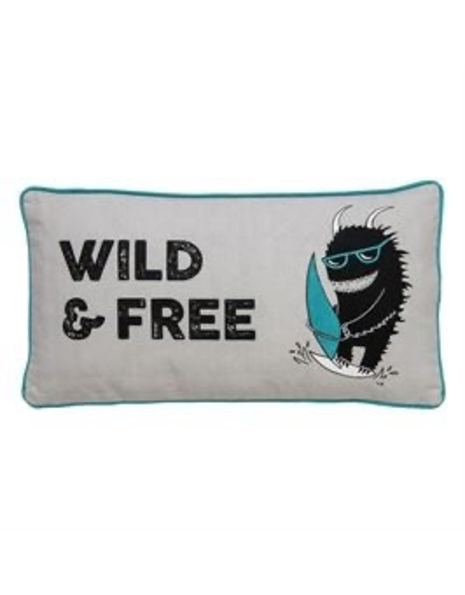 "Bloomingville 24""L x 12""H Cotton Wild & Free - Pillow"