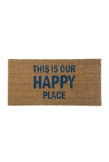 """Bloomingville 31 1/2"""" L This Is Our Happy Place - Coir Door mat"""