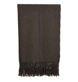 Creative Co-op Charcoal Grey Throw Blanket w/fringe