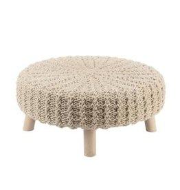 TriPar Cream Knit Footstool