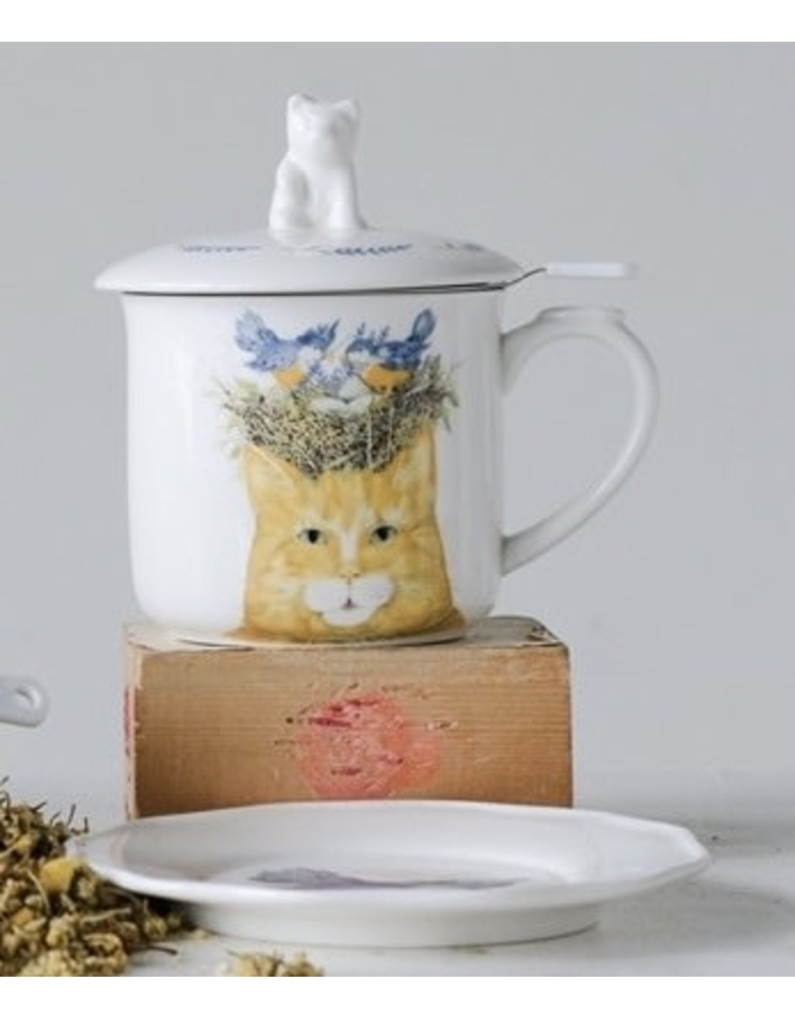 Creative Co-op Cup, Saucer, Strainer & Lid - Yellow Cat