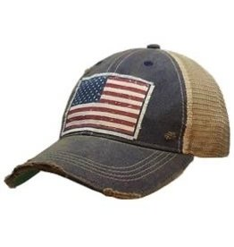 Vintage Life Distressed Baseball Cap - Flag