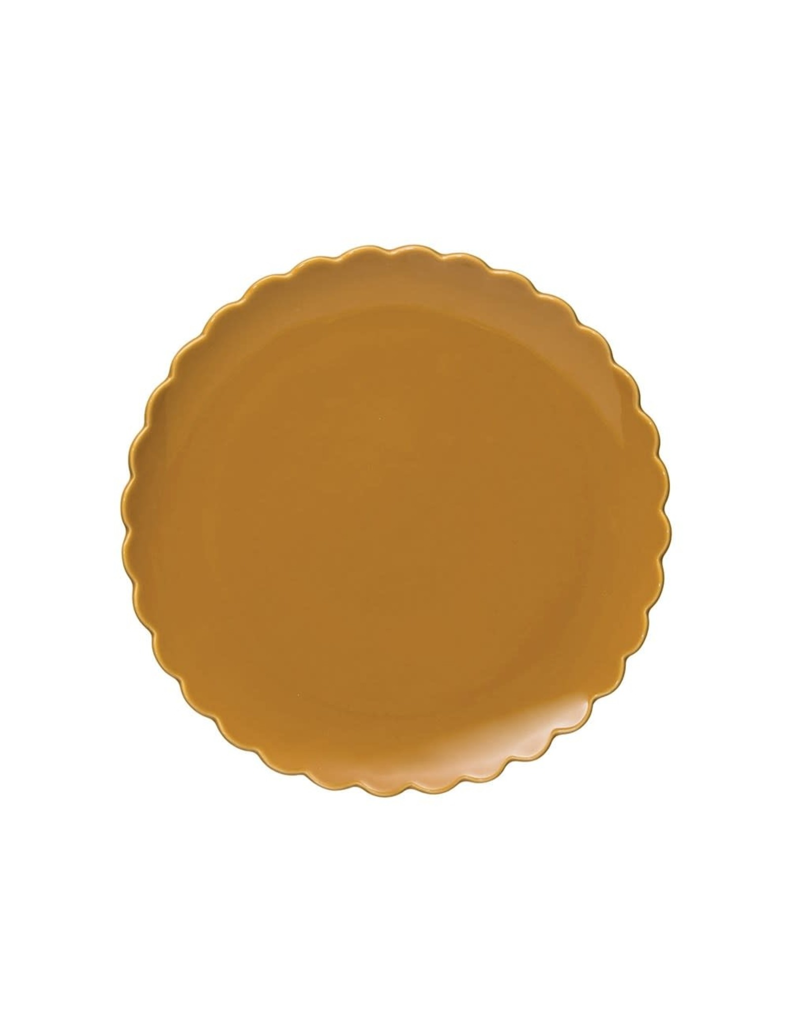 Creative Co-op Mustard Scalloped Plates