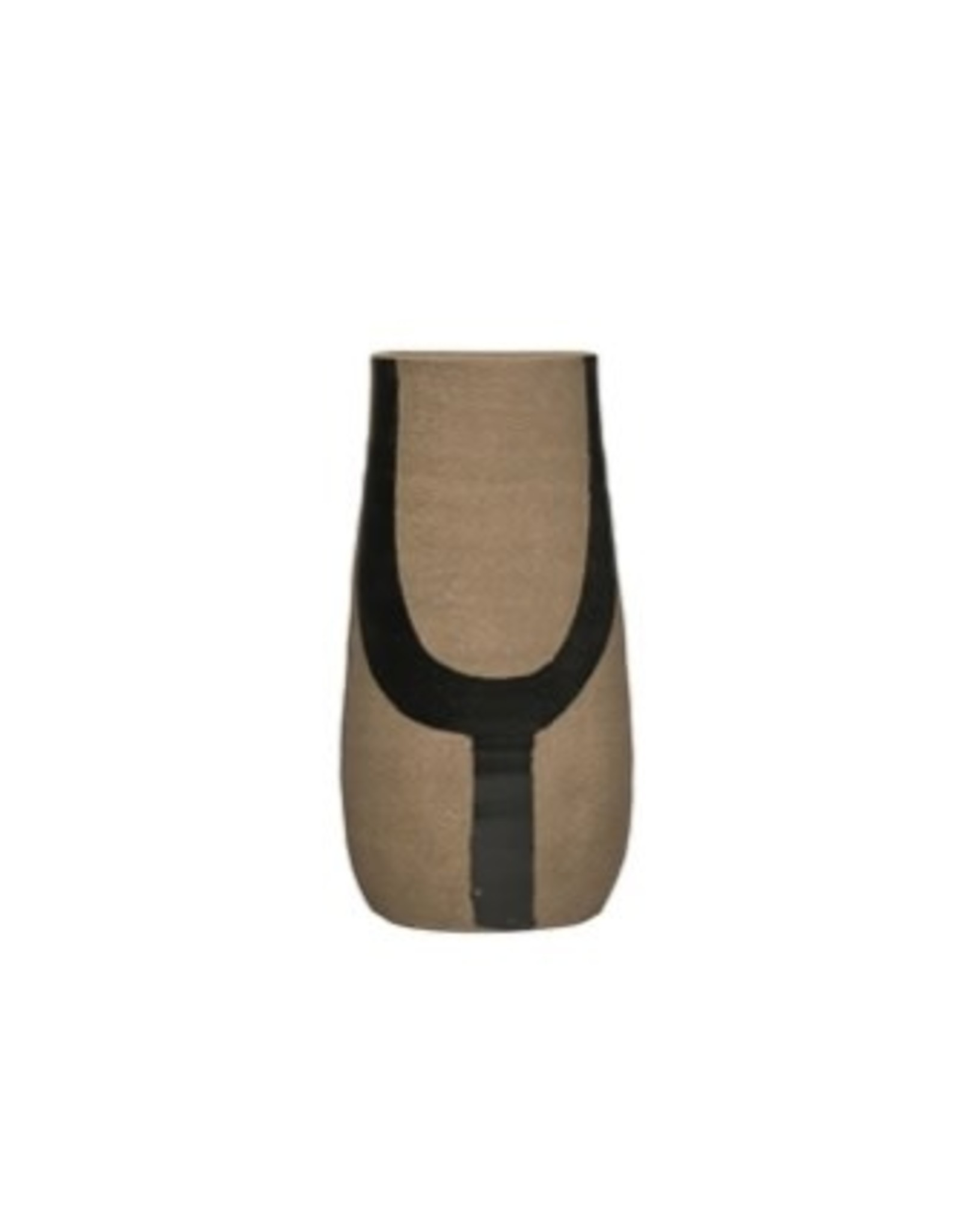 Creative Co-op Terracotta Vase, Hand Painted Gray/Black