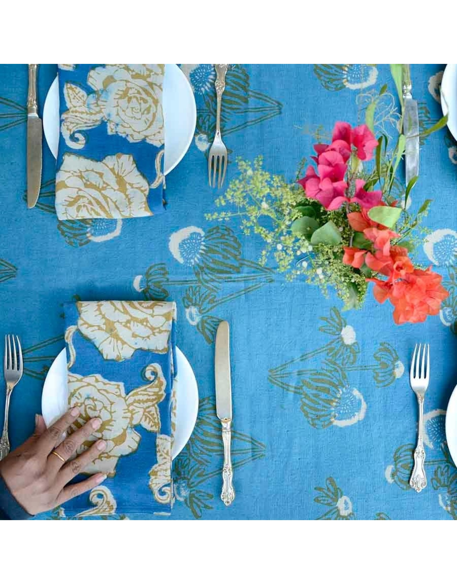 "Ichcha 20"" x 20"" 100% Cotton Blue & Gold Floral Napkins Set of 4"