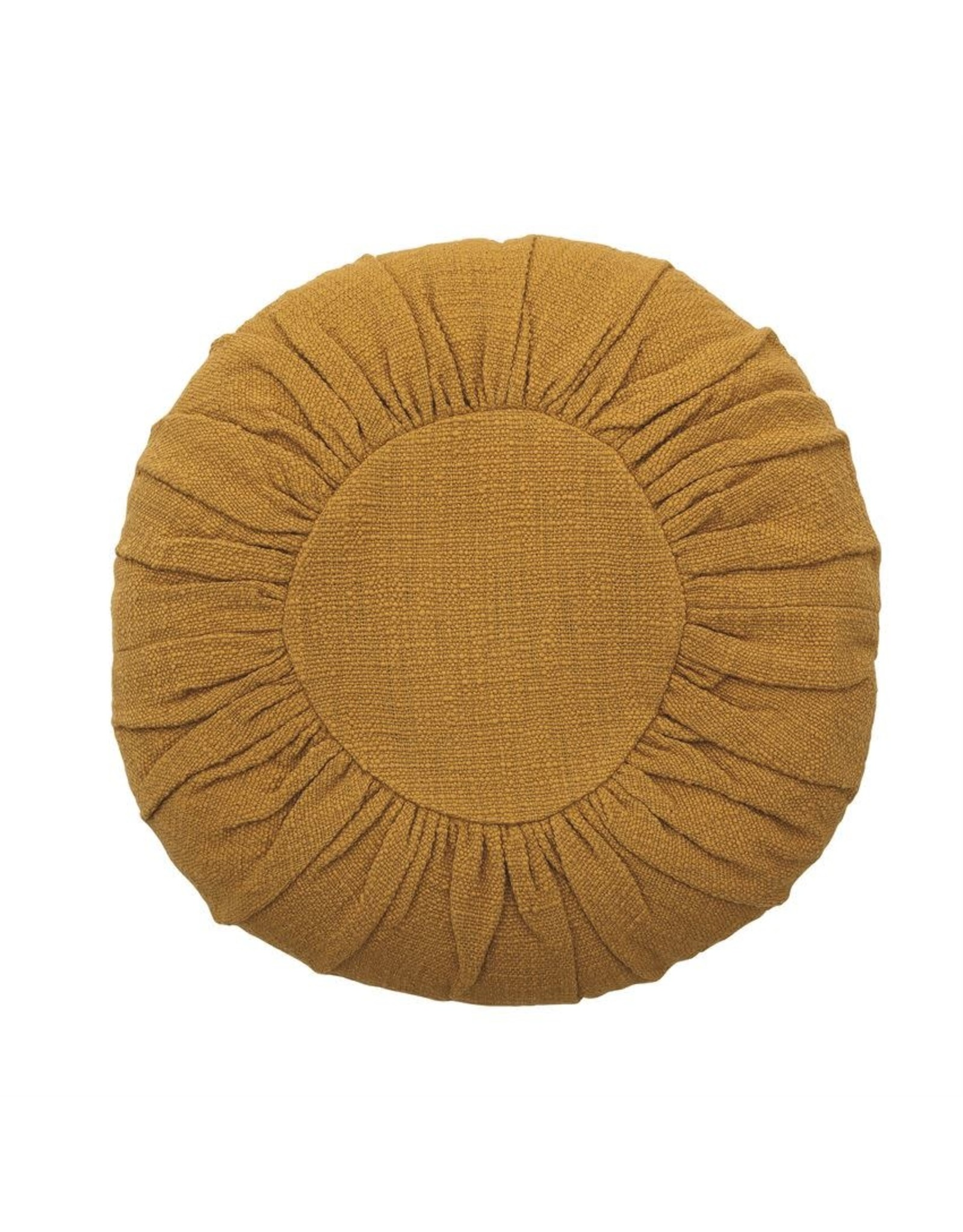 """Bloomingville 18"""" Round Cotton Pillow, Mustard Color"""