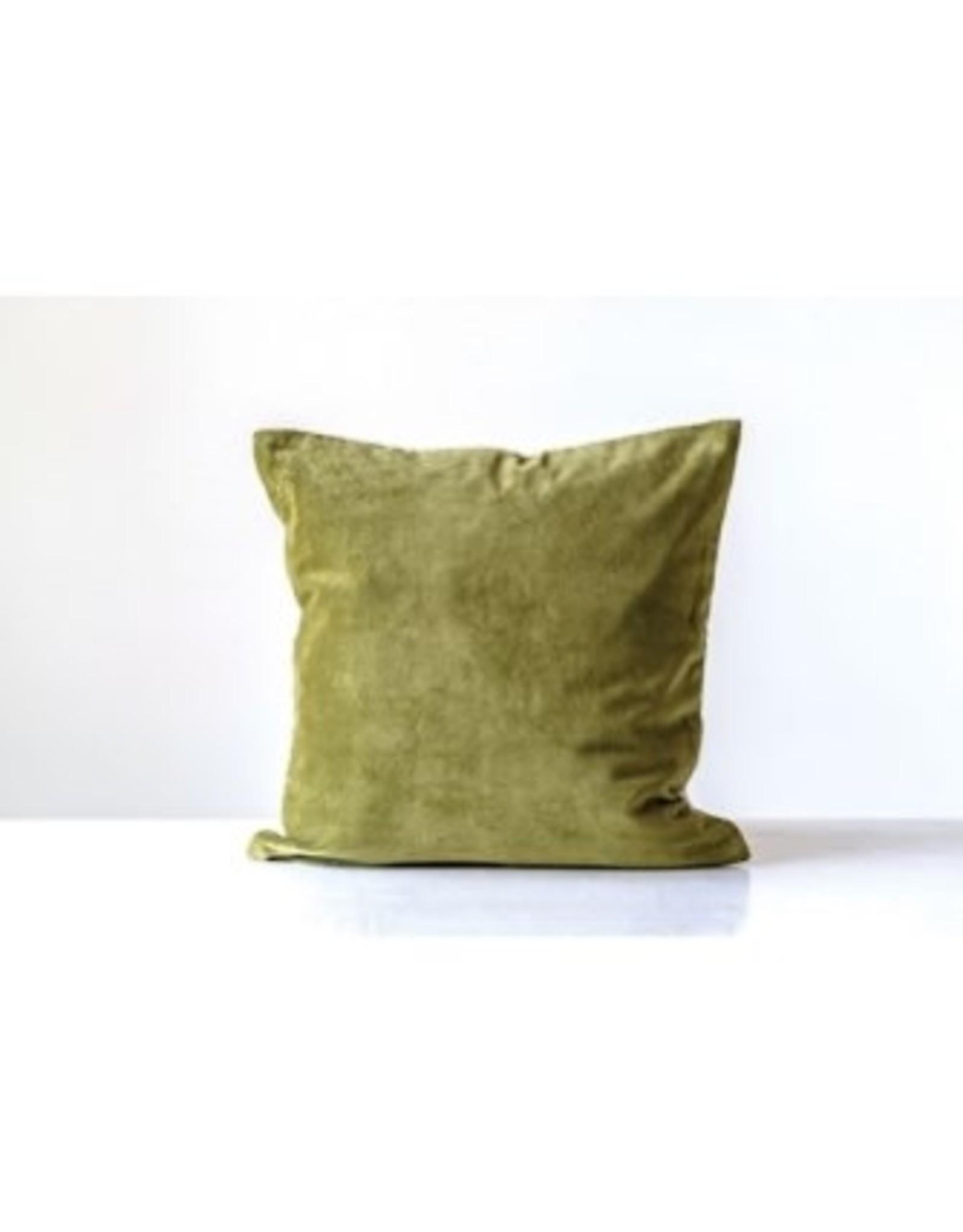 """Creative Co-op 20"""" Cotton Velvet Pillow w/gold zipper - green"""