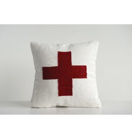 """Creative Co-op 20"""" Sq Wool Pillow with Red Cross"""