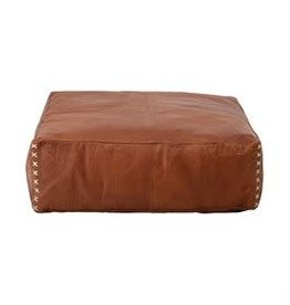 """Bloomingville 24"""" x 8"""" Leather Pouf - Tobacco"""