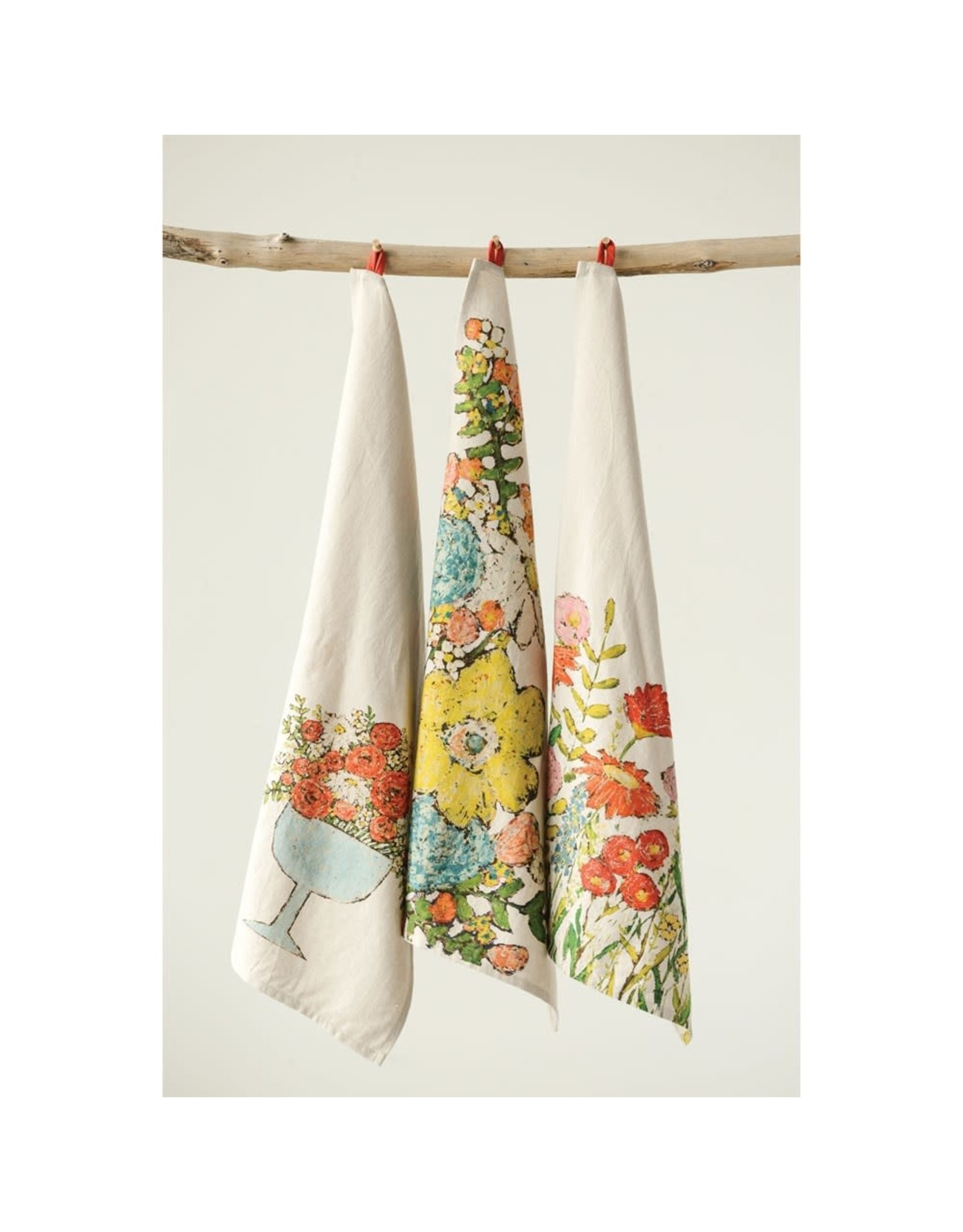 """Creative Co-op 28"""" x 18"""" Floral Cotton Tea Towels"""
