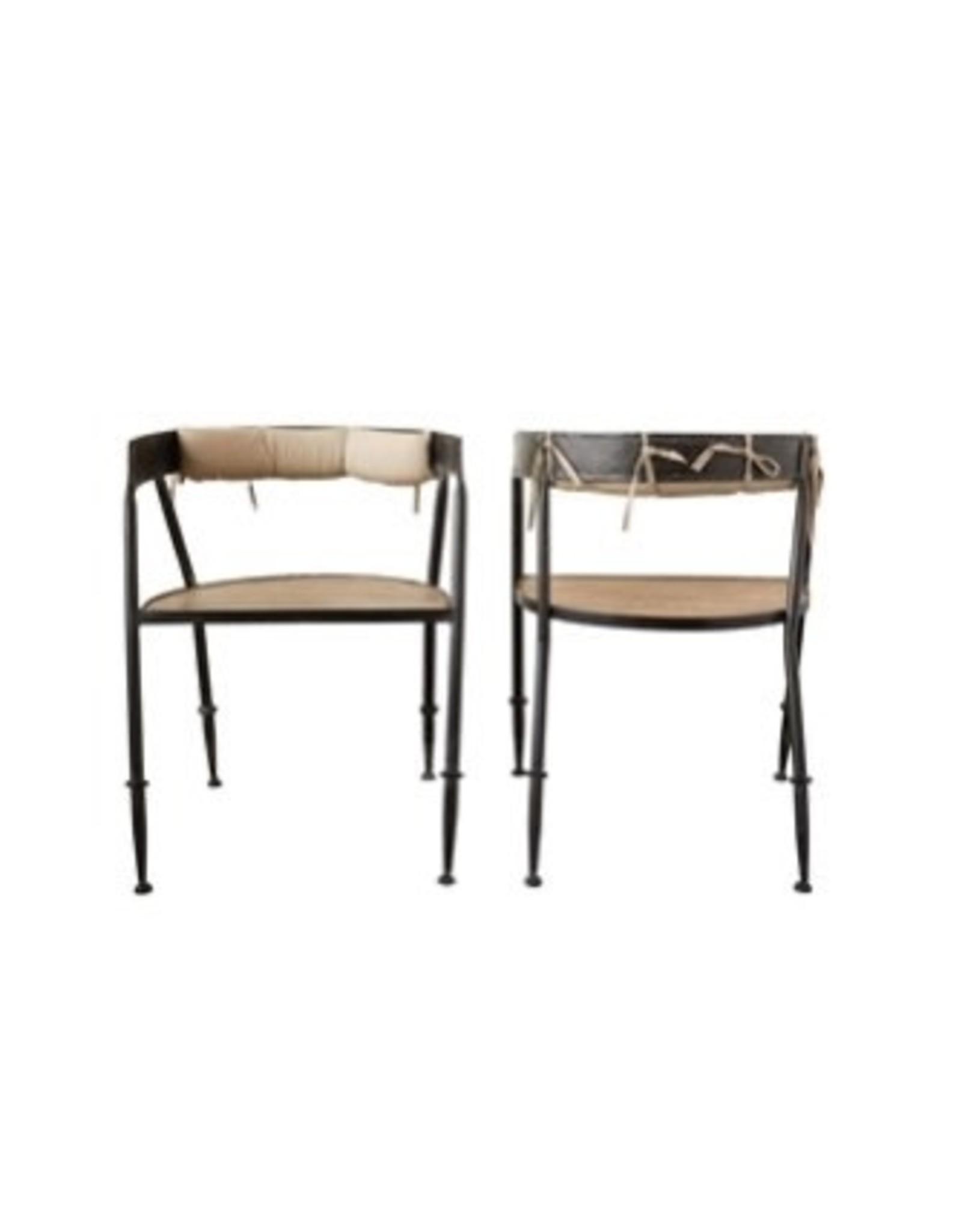 "Creative Co-op 31 1/2"" Metal Chair w/Wood Seat"