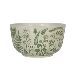 "Creative Co-op 4 1/2"" Stamped Stoneware Bowl, green"