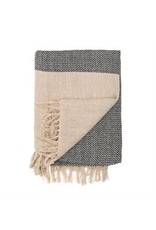 """Bloomingville 60"""" x 50"""" Recycled Knit Throw w/Fringe Gray"""