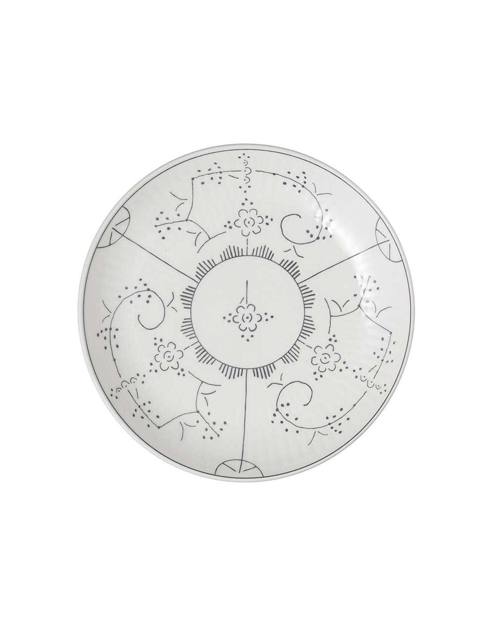 Creative Co-op 8 1/2 Vintage Reproduction Bowl w/Grey Design