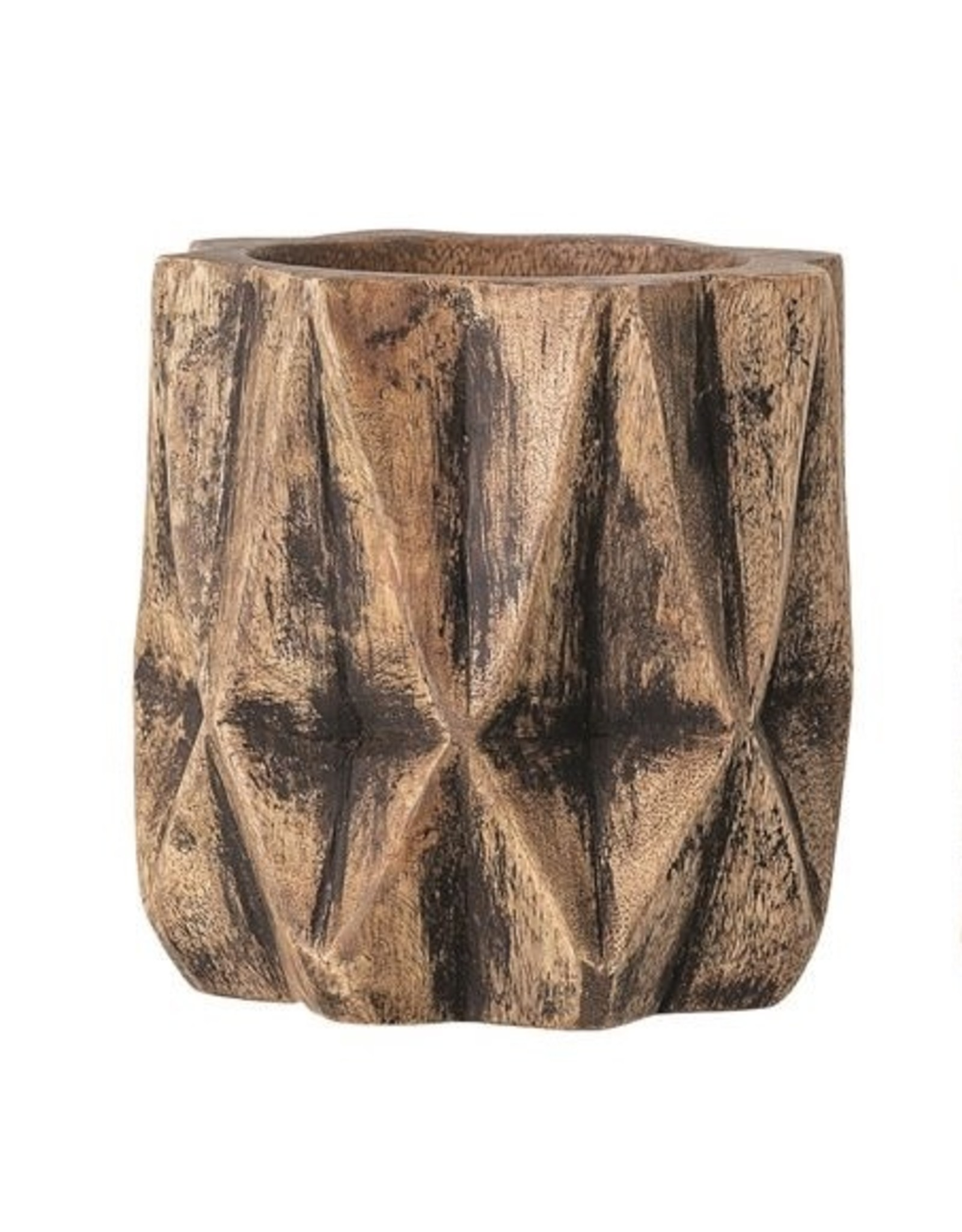 """Bloomingville 5"""" Round x 5""""H Hand-Carved Mango Wood Planter - Geometric texture"""