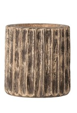 "Bloomingville 5"" Round x 5""H Hand-Carved Mango Wood Planter - Vertical texture"