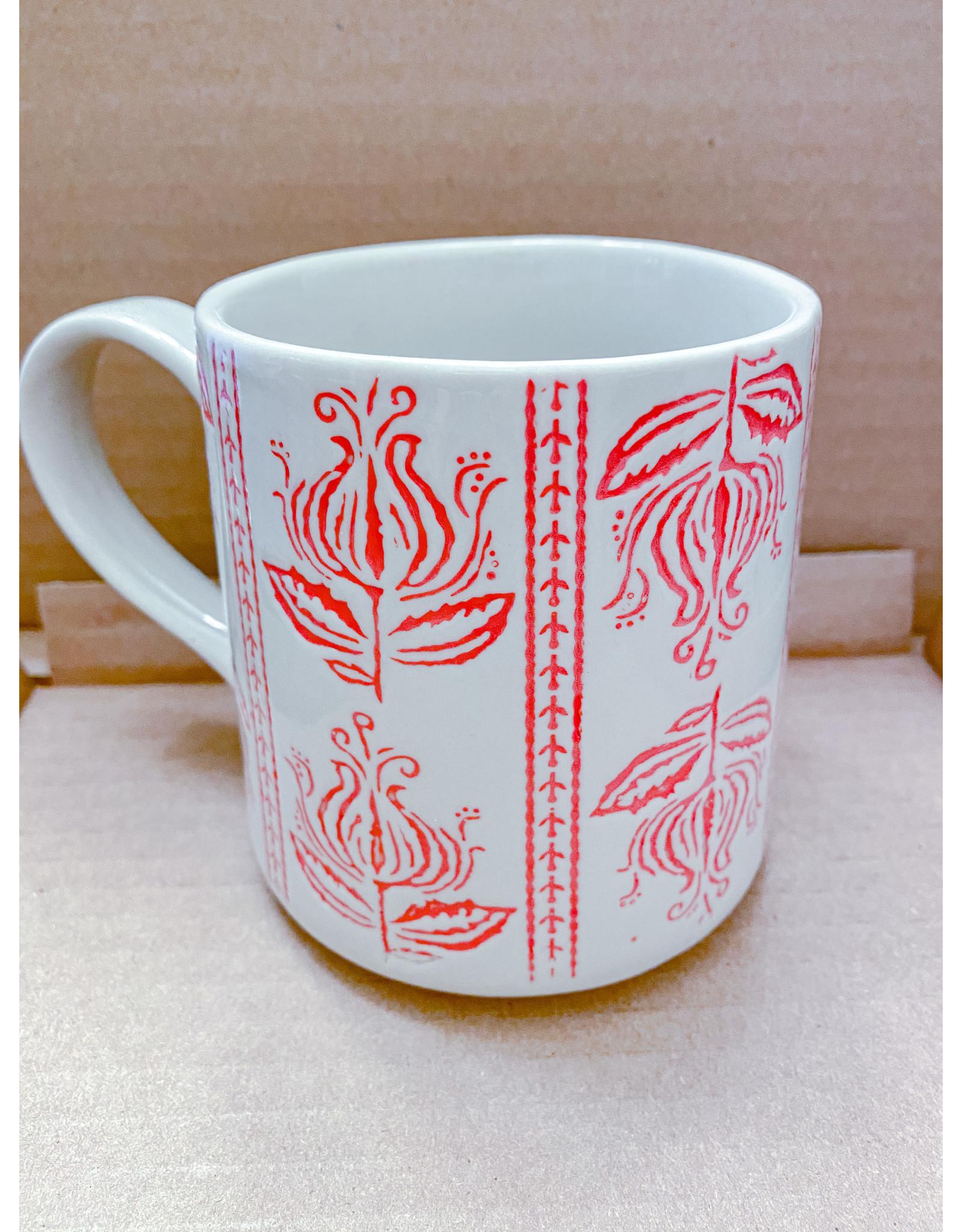 Creative Co-op 16oz Embossed Stoneware Mug - Bright Red