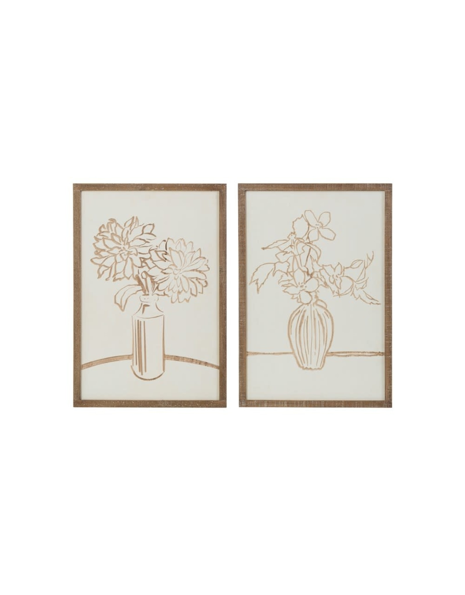 Creative Co-op Engraved Floral Wood Wall Decor - 2 Styles