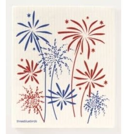 Three Bluebirds Fireworks Swedish Dish Cloth