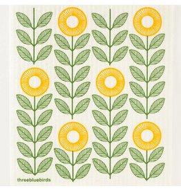 Three Bluebirds Green &Yellow Sunflower Swedish Dish cloth