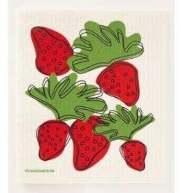 Three Bluebirds Strawberries Swedish dish cloth