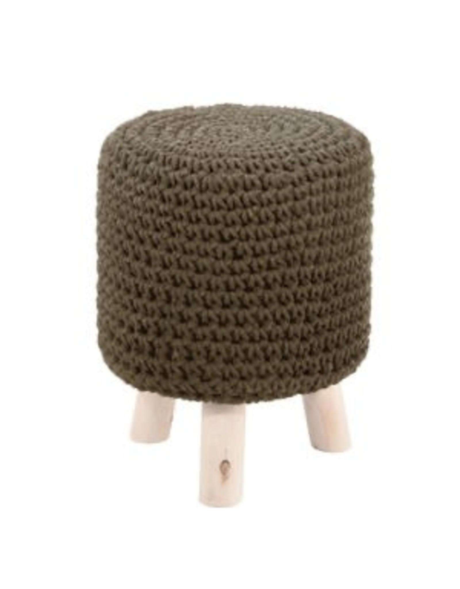 TriPar Wood Knit Footstool - Small Green