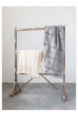 Creative Co-op Cotton Knit Throw w/ Ruffle Edge, Natural