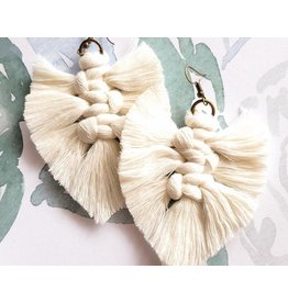 Timber Rose Designs Macrame Feather Earrings - Natural