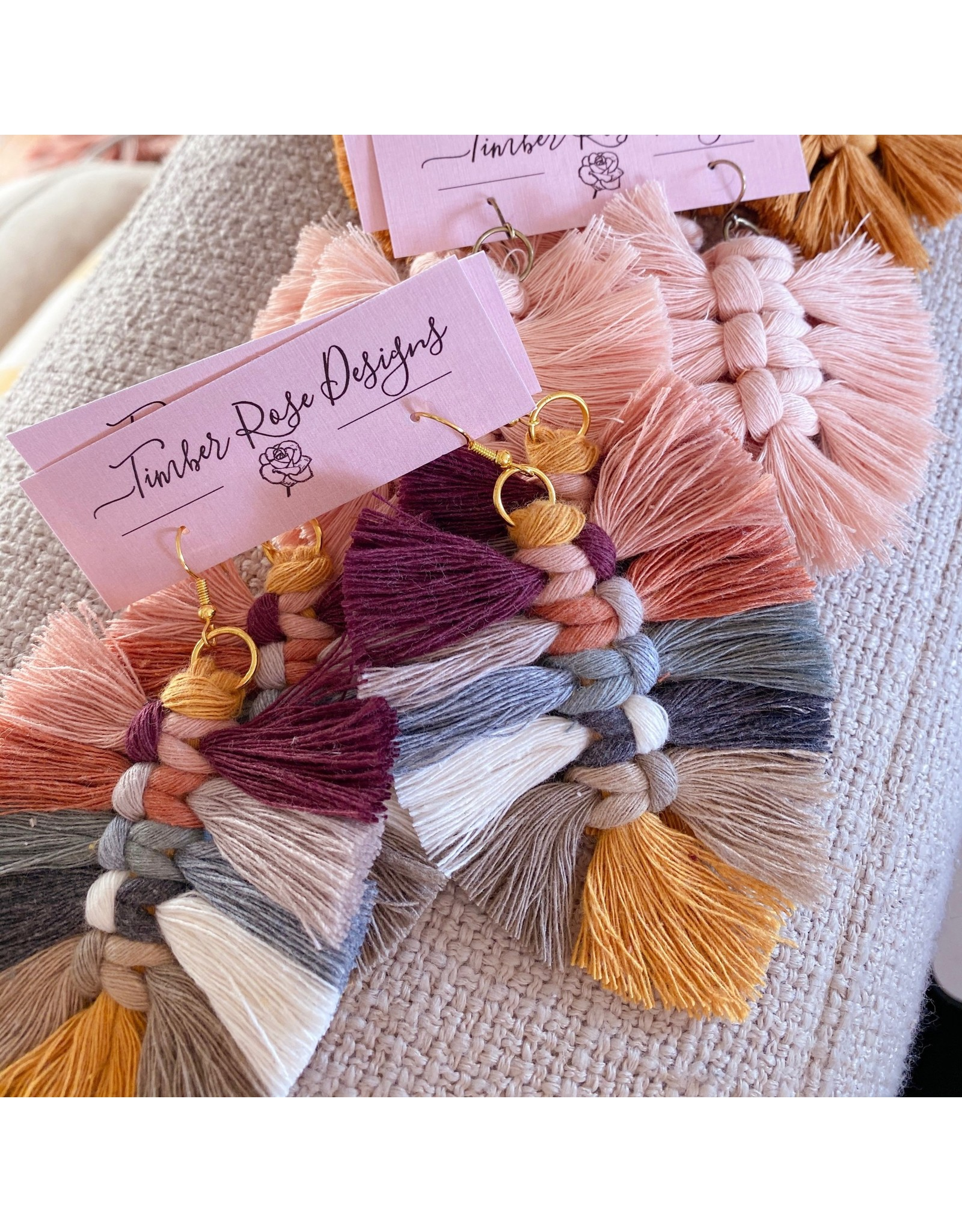 Timber Rose Designs Macrame Feather Earrings - Multi-Colored