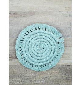 Timber Rose Designs Macrame Spiral Coasters - Light Blue